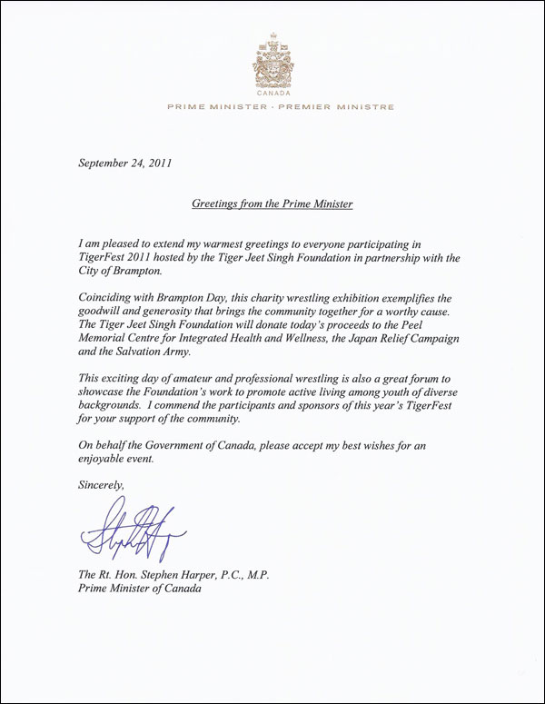 Tigerfest Letter Of Greetings From Stephen Harper  Tiger Jeet